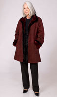 Burgundy suede shearling stroller with ranch mink whipstitching - Item # SH0126