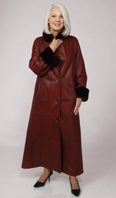 <p>Burgundy shearling coat with Dyed-To-Match sheared nutria collar/cuff - Item # SH0128</p>