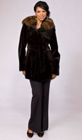 Dark brown sheared mink jacket with sable lined hood - Item # SM0086