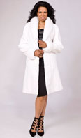 White sheared mink city coat with white mink collar/turn back cuffs - Item # SM0087