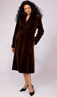 Toffee sheared mink city coat with mink shawl collar - Item # SM0089