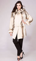 Azure/black semi-sheared mink parka and cross cut trim - Item # SM0098