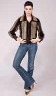 Brown wave stenciled sheared mink zip jacket  - Item # SM0101