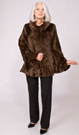 Brown sheared mink scultured jacket with bronze stenciled trim - Item # SM0103