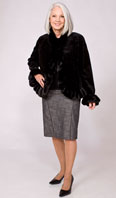 Black dyed sheared mink jacket with ranch mink ruffle edging - Item # SM0105