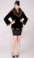 Dark brown sheared mink jacket with natural sable cross cut collar/cuffs/hem - Item # SM0106