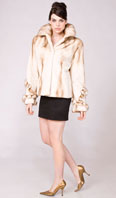 Golden white dyed semi-sheared mink jacket with mink trim - Item # SM0107