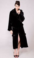 Black sheared mink zip off coat with ranch mink trim - Item # SM0108
