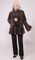 Grey sheared mink jacket with ruffle hem - Item # SM0110