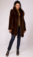 <p>Toffee sheared mink reversible to taffeta with Dyed-To-Match fox tux - Item # SM0111</p>