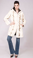 <p>Cream bleached sculptured sheared mink reversible parka - Item # SM0112</p>