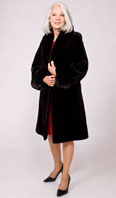 Black sheared mink city coat reversible to taffeta with ranch mink collar/turn back cuff - Item # SM0113
