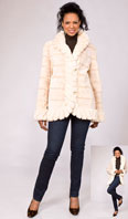 Cream dyed plucked mink horizontal jacket reversible to taffeta with rex trim - Item # SM0130