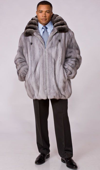 Sapphire mink jacket with detachable hood and chinchilla collar
