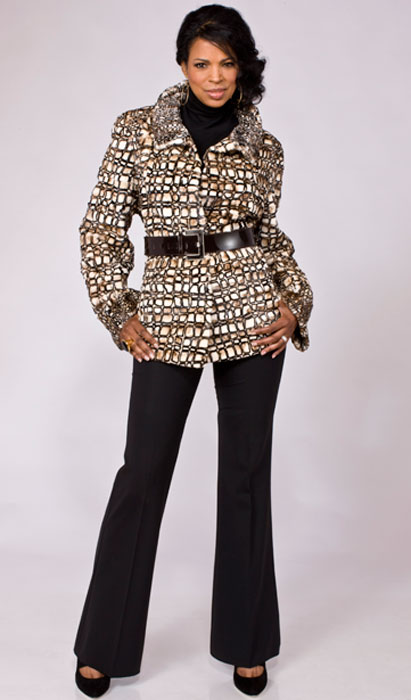 Stenciled sheared mink jacket with patent leather belt